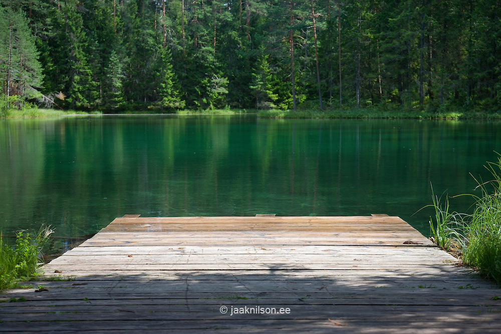 Wooden platform at green Great Äntu forest lake in Estonia