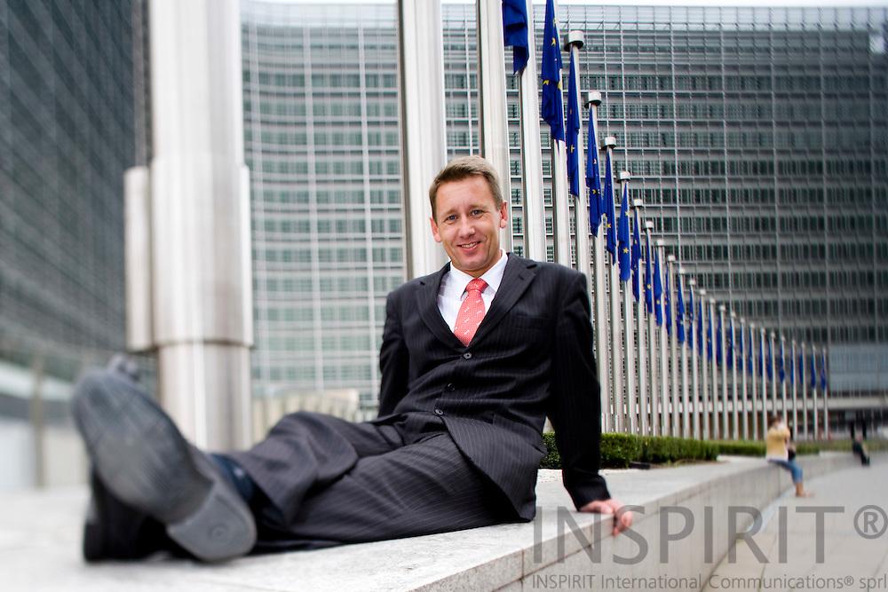 BRUSSELS - BELGIUM - 29 AUGUST 2008 -- Johnny KILLERUP PEDERSEN, head of South Denmark European Office. Here in front of the Berlaymont building -- Photo Erik LUNTANG / EUP-Images