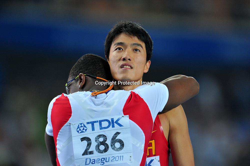 (L to R) Dayron Robles (CUB), Liu Xiang (CHN), AUGUST 29, 2011 - Athletics :The 13th IAAF World Championships in Athletics - Daegu 2011, Men's 110m Hurdles Final at the Daegu Stadium, Daegu, Korea. (Photo by Jun Tsukida/AFLO SPORT) [0003]
