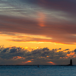 Whaleback Light as seen from Great Island Common in New Castle New Hampshire. Sunrise.