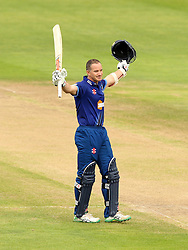 Gloucestershire's Michael Klinger celebrates reaching his hundred - Mandatory by-line: Robbie Stephenson/JMP - 07966386802 - 04/08/2015 - SPORT - CRICKET - Bristol,England - County Ground - Gloucestershire v Durham - Royal London One-Day Cup