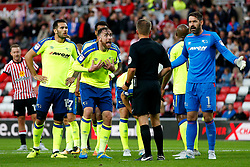 Richard Keogh of Derby County and team mates appeal to the referee after gibing away a penalty - Mandatory by-line: Matt McNulty/JMP - 04/08/2017 - FOOTBALL - Stadium of Light - Sunderland, England - Sunderland v Derby County - Sky Bet Championship