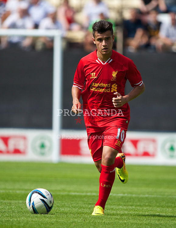 PRESTON, ENGLAND - Saturday, July 13, 2013: Liverpool's Philippe Coutinho Correia in action against Preston North End during a preseason friendly match at Deepdale. (Pic by David Rawcliffe/Propaganda)