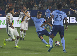 August 12, 2017 - Carson, California, U.S - David Villa #7 of the New York FC takes a shot into goal for a score during their MLS game with the Los Angeles Galaxy on Saturday August 12, 2017 at StubHub Center in Carson, California. LA Galaxy loses to New York FC, 2-0. (Credit Image: © Prensa Internacional via ZUMA Wire)