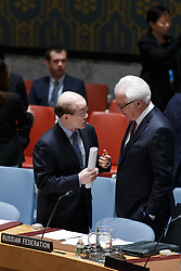 Liu Jieyi(L), China's permanent representative to the United Nations, talks with Vitaly Churkin, permanent representative of Russia to the UN, prior to a Security Council meeting on Democratic People's Republic of Korea (DPRK) at the UN headquarters in New York, March 2, 2016. The UN Security Council adopted a resolution on Wednesday to impose sanctions on the Democratic People's Republic of Korea (DPRK) in order to curb the country's nuclear and missile programs. EXPA Pictures © 2016, PhotoCredit: EXPA/ Photoshot/ Li Muzi<br />