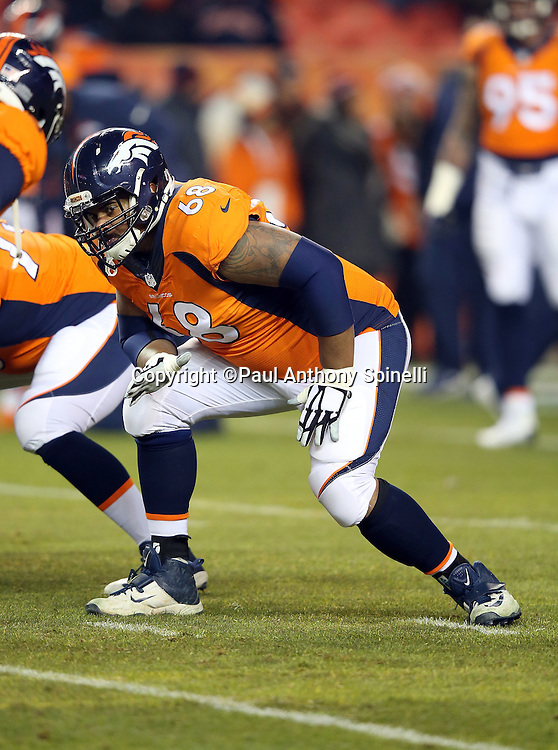 Denver Broncos tackle Ryan Harris (68) gets set to block during the 2015 NFL week 16 regular season football game against the Cincinnati Bengals on Monday, Dec. 28, 2015 in Denver. The Broncos won the game in overtime 20-17. (©Paul Anthony Spinelli)