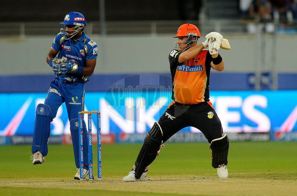 Aaron Finch of the Sunrisers Hyderabad bats during match 20 of the Pepsi Indian Premier League Season 2014 between the Mumbai Indians and the Sunrisers Hyderabad held at the Dubai International Stadium, Dubai, United Arab Emirates on the 30th April 2014<br /> <br /> Photo by Pal Pillia / IPL / SPORTZPICS