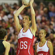 Rachel Dunn, England, in action during the New Zealand V England, New World International Netball Series, at the ILT Velodrome, Invercargill, New Zealand. 6th October 2011. Photo Tim Clayton...