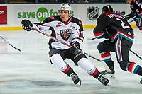KELOWNA, CANADA - OCTOBER 3:  Davis Koch #16 of the Vancouver Giants skates against the Kelowna Rockets on October 3, 2018 at Prospera Place in Kelowna, British Columbia, Canada.  (Photo by Marissa Baecker/Shoot the Breeze)  *** Local Caption ***