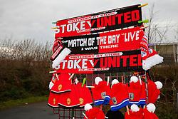 Half and half scarves on sale outside the stadium - Photo mandatory by-line: Rogan Thomson/JMP - 07966 386802 - 01/01/2015 - SPORT - FOOTBALL - Stoke-on-Trent, England - Britannia Stadium - Stoke City v Manchester United - New Year's Day Football - Barclays Premier League.