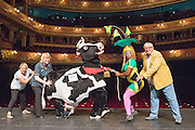 12/08/2013. CHRISTOPHER BIGGINS is joined by the St Joseph's Hospice nurses and pantomime characters from the Hackney Empire panto family to launch DAME DESH, a fundraising 1km run in aid of St Joseph's Hospice and Hackney Empire. Picture features: Christopher Biggins: Actor & St Joseph's Supporter, Carolyne Barber: Advanced Practice Nurse, St. Joseph's Hospice, Susie McKenna: Artistic Director Hackney Empire, Kate B, Hackney Empire pantomime star, and Daisy the cow.