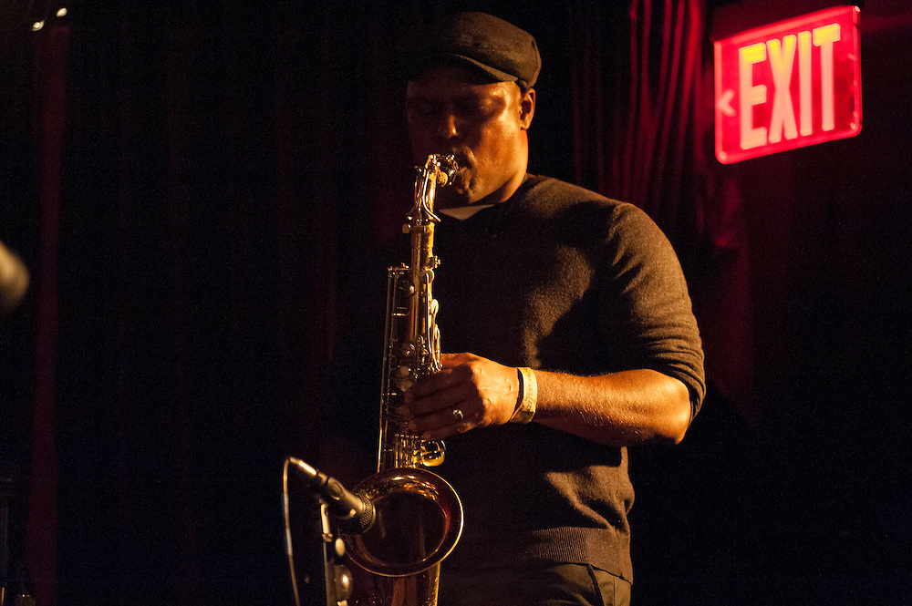 JD Allen plays sax with Jaimeo Brown's Transcendance band at the Zinc Bar during the 2013 Winter jazz Fest in New York City, January 11, 2013.
