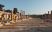 Main street, connecting the inner harbour to the agora in front of the bouleuterion, Hellenistic period, Patara, Antalya, Turkey. This is a Cardo (North-South street) which intersects with the Decumanus (East-West street). It is 12.6m wide and has a colonnade of granite Ionic columns on its East side and one of marble columns on the West, behind which we can see shops of varying sizes. This colonnaded wide avenue was completely flooded after the earthquakes in the region, and so far, it has been unearthed over 100m. The lack of wheel marks suggests that it functioned as a pedestrian street. There is a sewer system running underneath the street. Patara was a maritime Greek and Roman city on the South West Mediterranean coast of Lycia near modern-day Gelemis. It was said to be founded by Patarus, son of Apollo, and was famous for its temple and oracle of Apollo. It was a leading city of the Lycian League. Picture by Manuel Cohen