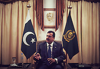 Prime Minister of Pakistan Yousaf Raza Gillani is interviewed by Newsweek journalists at Prime Minister's House, Islamabad, Pakistan on Dec 17, 2011.