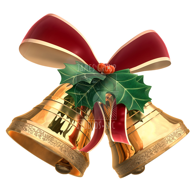 A Piece of Holly leaf and two bells tied by a ribbon on a white background. Includes Clipping Path!!