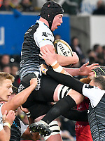 Rugby Union - 2018 / 2019 - European Champions Cup Qualification Final - Ospreys vs Scarlets<br /> <br /> Adam Beard, of Ospreys leaps to take the ball from a kick off… at the Liberty Stadium<br /> <br /> Credit: COLORSPORT/WINSTON BYNORTH