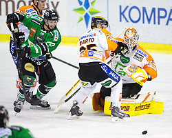 12.02.2015, Hala Tivoli, Ljubljana, SLO, EBEL, HDD Telemach Olimpija Ljubljana vs Moser Medical Graz, 2. Qualification Round, in picture Jake Marto (Moser Medical Graz 99ers, #25), Danny Sabourin (Moser Medical Graz 99ers, #35) and Gregor Koblar (HDD Telemach Olimpija, #20) during the Erste Bank Icehockey League 2. Qualification Round between HDD Telemach Olimpija Ljubljana and Moser Medical Graz 99ers at the Hala Tivoli, Ljubljana, Slovenia on 2015/02/12. Photo by Morgan Kristan / Sportida