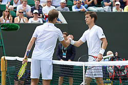 LONDON, ENGLAND - Tuesday, June 28, 2016: Aljaz Bedene (GBR) shakes hands with Richard Gasquet (FRA) after losing during the Gentlemen's Singles 1st Round match on day two of the Wimbledon Lawn Tennis Championships at the All England Lawn Tennis and Croquet Club. (Pic by Kirsten Holst/Propaganda)