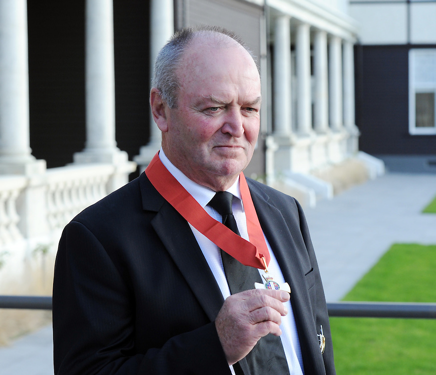 Sir Graham Henry, All Black Rugby Coach at the winning of the 2011 Rugby World Cup dislays his Knighthood after the Investiture ceremony at Government House, Wellington, New Zealand, Thursday, May 03, 2012. Credit:SNPA / Ross Setford