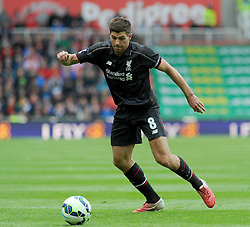 Liverpool's Steven Gerrard in action at the Britannia Stadium - Photo mandatory by-line: Nizaam Jones/JMP - Mobile: 07966 386802 - 24/05/2015 - SPORT - Football - Stoke - Britannia Stadium - Stoke City v Liverpool - Barclays Premier League