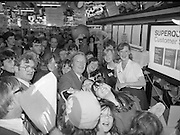 Taoiseach's Election Campaign.      (N77)..1981..23.05.1981..05.23.1981..23rd May 1981..On the 21st May the Taoiseach, Mr Charles Haughey, dissolved the Dáil and called a general election. Charles Haughey, Garret Fitzgerald and Frank Cluskey were leading their respective parties into a general election for the first time as they had only taken party leadership during the last Dáil..Fianna Fáil had hoped to call the election earlier, but the Stardust Tragedy caused the decision to be deferred...Charles Haughey is pictured meeting and greeting supporters on the campaign trail in Portmarnock, Dublin.