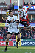 Wasps centre Brendan Macken misses the ball thrown by Gloucester winger Charlie Sharples during the Aviva Premiership match between Gloucester Rugby and Wasps at the Kingsholm Stadium, Gloucester, United Kingdom on 24 February 2018. Picture by Alan Franklin.