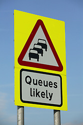 Motorway sign; 'Queues Likely',