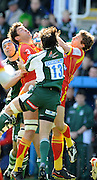 Reading, GREAT BRITAIN, Exiles, No.13. Gonzalo TIESI,  jumps with left Nathen HINES and Chris CUSITER,  during the Heineken, Quarter Final, Cup rugby match,  London Irish vs Perpignan, at the Madejski Stadium on Sat 05.04.2008 [Photo, Peter Spurrier/Intersport-images]