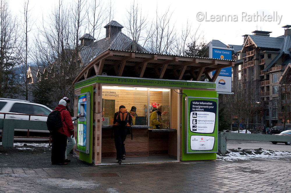 Information kiosks are located around Whistler village during the 2010 Olympic Winter Games in Whistler, BC Canada.