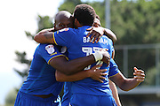 AFC Wimbledon striker Andy Barcham (17) and AFC Wimbledon striker Tom Elliott (9) celebrate during the EFL Sky Bet League 1 match between AFC Wimbledon and Bolton Wanderers at the Cherry Red Records Stadium, Kingston, England on 13 August 2016. Photo by Stuart Butcher.