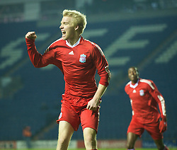 LEICESTER, ENGLAND - Tuesday, January 12, 2010: Liverpool's Lauri Dalla Valle celebrates scoring the second of his first half hat-trick goals against Leicester City during the FA Youth Cup 4th Round match at the Walkers Stadium. (Photo by David Rawcliffe/Propaganda)