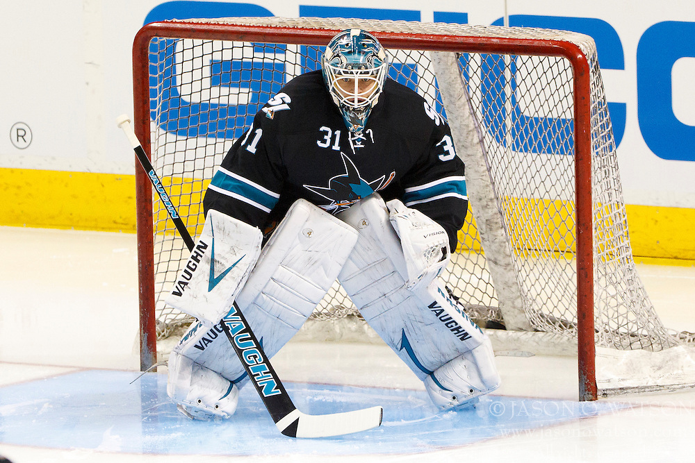 April 16, 2012; San Jose, CA, USA; San Jose Sharks goalie Antti Niemi (31) warms up before game three of the 2012 Western Conference quarterfinals against the St. Louis Blues at HP Pavilion.  Mandatory Credit: Jason O. Watson-US PRESSWIRE