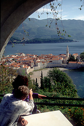 Montenegrin Coast:   View of the ancient city of Budva from the high bluffs north of town.