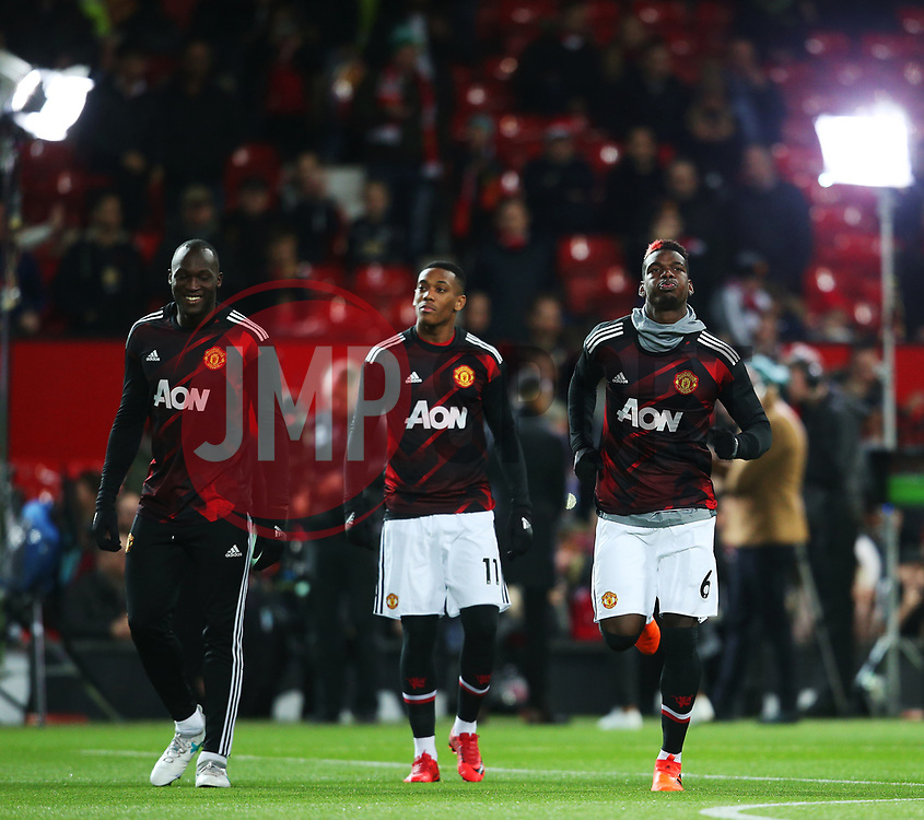 Paul Pogba of Manchester United warms up with team mates - Mandatory by-line: Matt McNulty/JMP - 18/11/2017 - FOOTBALL - Old Trafford - Manchester, England - Manchester United v Newcastle United - Premier League