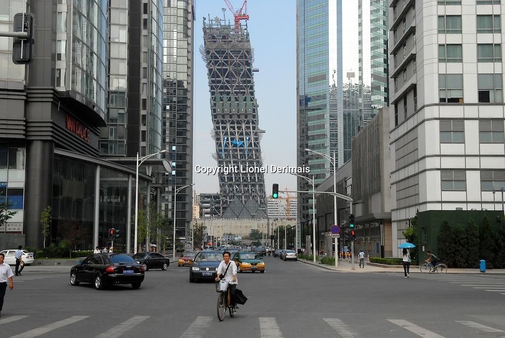 CCTV tower under construction, Beijing, China.