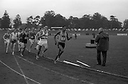 17/07/1967<br /> 07/17/1967<br /> 17 July 1967<br /> International Athletics at Santry Stadium, Dublin. H. Khosi (85) who finished third for South Africa, leading the field round a bend in the Men's 880 yes International race. E. warren (86) and V. Jacklin also ran for South Africa in the race won by Keith Colburn (USA). Just behind Khosi is N. Carroll, Civil Service Harriers who finished 2nd.