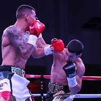 "Jean Carlos ""Chapito"" Rivera fights Jason Sanchez during their championship boxing match for the WBO Junior World Title at the Hotel El Panama Convention Center on Wednesday, October 31, 2018 in Panama City, Panama. (Alex Menendez via AP)     <br /> <br />   NOT FOR TOP RANK without permission and payment!"