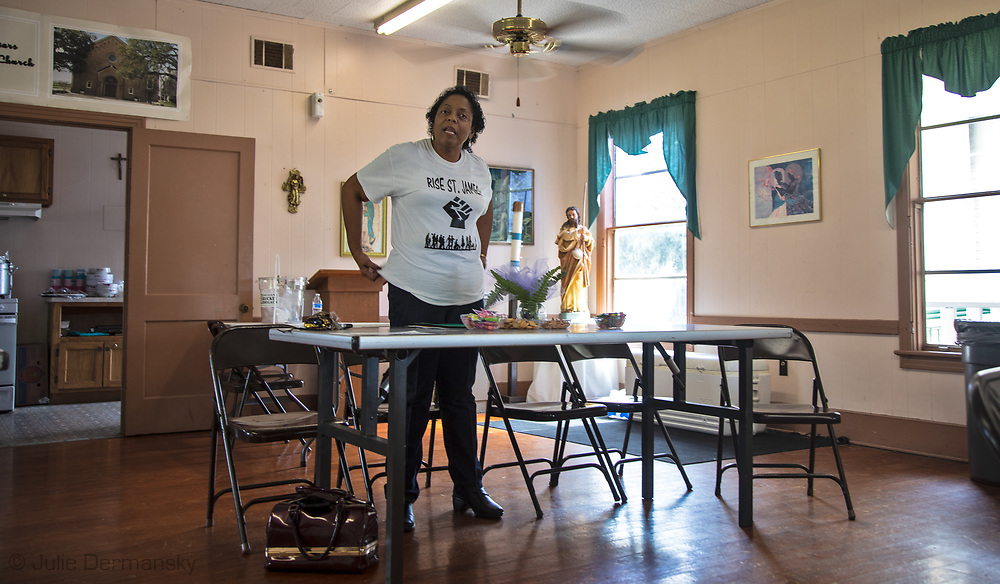 Sharon Lavigne, founder of Rise St. James at afRise St. James at a meeting held in St. James, where  activist, lawyers, resdients who don't want Formosa to be build near their homes and pastors met to come up with a plan to stop the plant from being built.