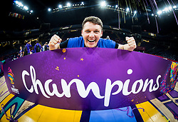 Photographer Vid Ponikvar celebrating at Trophy ceremony after  the Final basketball match between National Teams  Slovenia and Serbia at Day 18 of the FIBA EuroBasket 2017 when Slovenia became European Champions 2017, at Sinan Erdem Dome in Istanbul, Turkey on September 17, 2017. Photo by Jan Kropf / Sportida