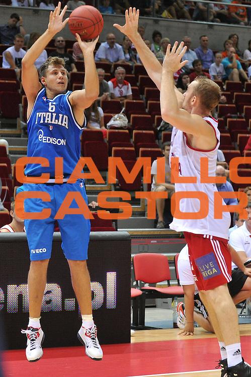 DESCRIZIONE : DANZICA POLONIA TORNEO INTERNAZIONALE SOPOT BASKET CUP Lettonia Italia<br /> GIOCATORE : stefano mancinelli<br /> CATEGORIA : tiro three points<br /> SQUADRA : Nazionale Italia Maschile<br /> EVENTO : TORNEO INTERNAZIONALE SOPOT BASKET CUP<br /> GARA : Lettonia Italia<br /> DATA : 03/08/2012<br /> SPORT : Pallacanestro<br /> AUTORE : Agenzia Ciamillo-Castoria/M.Gregolin<br /> Galleria : FIP Nazionali 2012<br /> Fotonotizia :  DANZICA POLONIA TORNEO INTERNAZIONALE SOPOT BASKET CUP Lettonia Italia<br /> Predefinita :