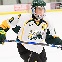 4th year forward Emma Waldenberger (9) of the Regina Cougars in action during the Women's Hockey home game on January 27 at Co-operators arena. Credit: Arthur Ward/Arthur Images