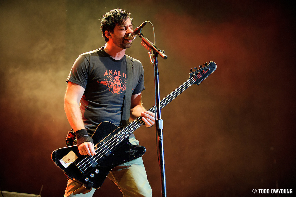 Chevelle performing at Pointfest at Verizon Wireless Amphitheater in St. Louis on August 20, 2011. © Todd Owyoung.