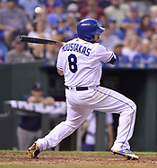 June 20, 2017 - Kansas City, MO, USA - The Kansas City Royals' Mike Moustakas is brushed back by a pitch from the Boston Red Sox's Chris Sale in the fifth inning at Kauffman Stadium in Kansas City, Mo., on Tuesday, June 20, 2017. (Credit Image: © John Sleezer/TNS via ZUMA Wire)