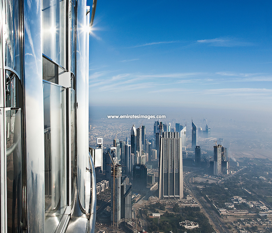 View from At the Top, Burj Khalifa, the observation deck of the world's tallest building, in Dubai