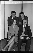 09/02/1964<br /> 02/09/1964<br /> 09 February 1964<br /> Ranks Television Question Time Team at Telefis Eireann studio, Donnybrook, Dublin. Image shows Members of the Ranks, Ireland Sales Ltd. Team, who took part in the Television Question Time on Telefis Eireann (Sun. 9/2/64), opposing Messrs. Guinness. Included  front (l-r): Miss B. Donnellan and Mr M. Butler. Back (l-r) Mr M. Manning and Mr M.B. Stubbs, Director.