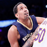 07 December 2014: New Orleans Pelicans center Alexis Ajinca (42) vies for the rebound with Los Angeles Lakers center Robert Sacre (50) during the New Orleans Pelicans 104-87 victory over the Los Angeles Lakers, at the Staples Center, Los Angeles, California, USA.