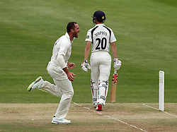 Durham's John Hastings celebrates the wicket of Middlesex's Josh Simpson - Photo mandatory by-line: Robbie Stephenson/JMP - Mobile: 07966 386802 - 04/05/2015 - SPORT - Football - London - Lords  - Middlesex CCC v Durham CCC - County Championship Division One