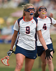 Virginia A Whitaker Hagerman (9) celebrates her team's tying goal against PSU.  The #2 ranked Virginia Cavaliers women's lacrosse team defeated the Penn State Nittany Lions 12-11 in overtime at Klockner Stadium on the Grounds of the University of Virginia in Charlottesville, VA on March 7, 2009.