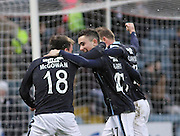 Paul McGowan and David Clarkson congratulate Alex Harris on his goal -  Dundee v Motherwell, SPFL Premiership at Dens Park <br /> <br /> <br />  - &copy; David Young - www.davidyoungphoto.co.uk - email: davidyoungphoto@gmail.com