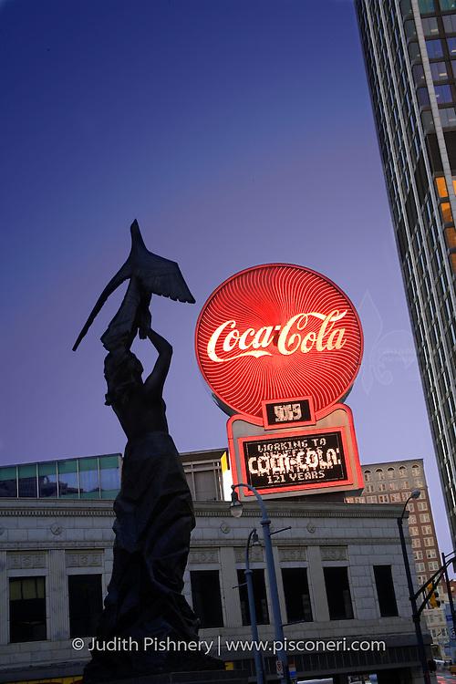 Atlanta, downtown, Coca-Cola sign, Pheonix rising